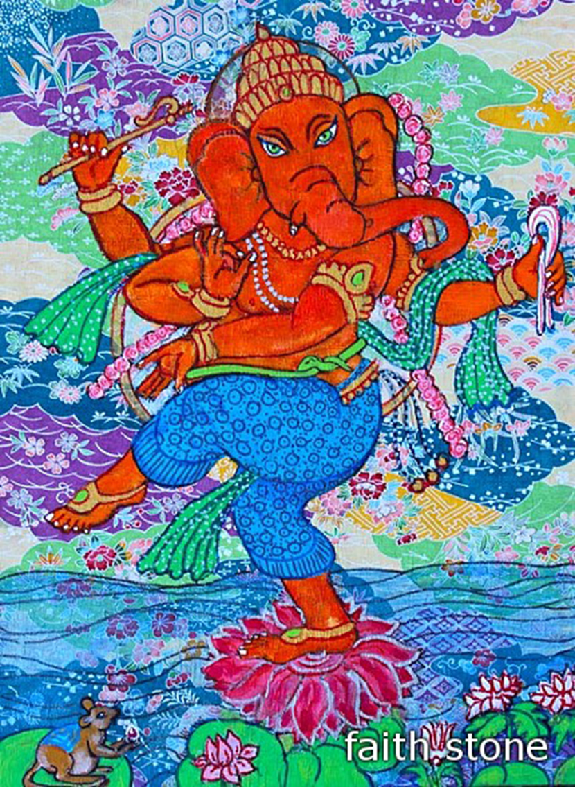 Dancing Ganesha with Flowers